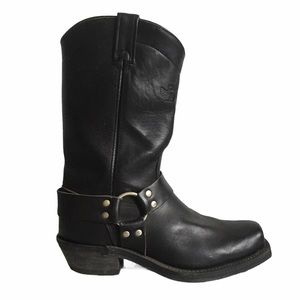CANADA WEST Black Leather Harness Biker Boots 9